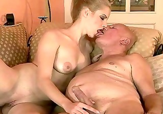 very old grand-dad fucks young beauty