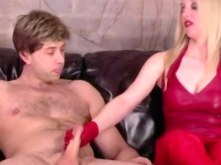 femdom euro milf sucks and rides jock in sexy red